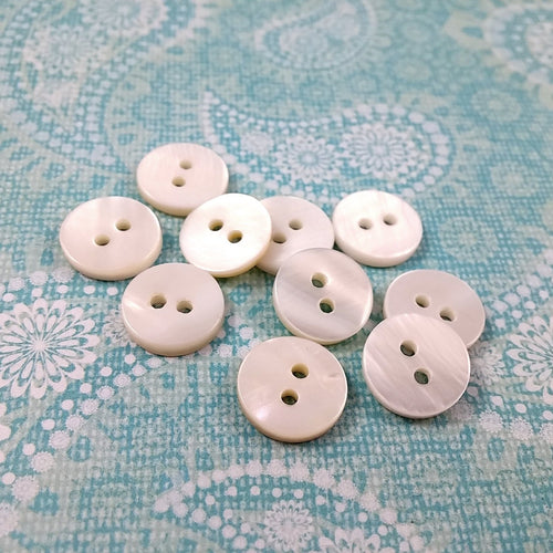 Mother of Pearl Shell Buttons 11mm - set of 10 eco friendly natural buttons
