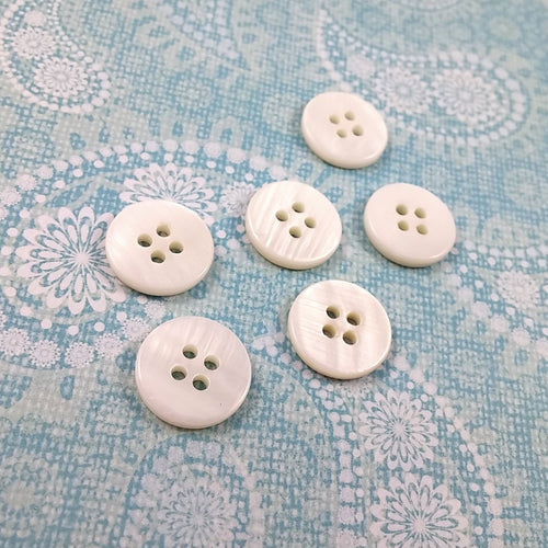 Mother of Pearl Shell Buttons 0.5 inch - set of 6 eco friendly natural buttons