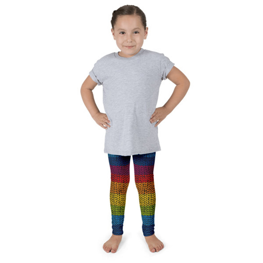 Rainbow knitting children leggings - Free shipping USA and Canada