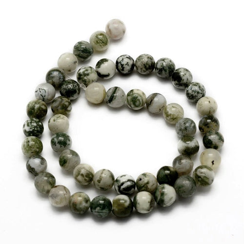 Natural Tree Agate Round Beads Strands 6 or 8mm