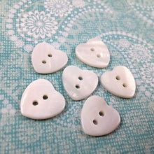 Load image into Gallery viewer, Mother of Pearl Shell Buttons 12mm - set of 6 white heart buttons