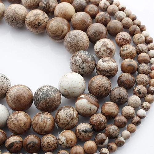 Pierres Naturelles Picture Jasper Rondes 4, 6 ou 8mm