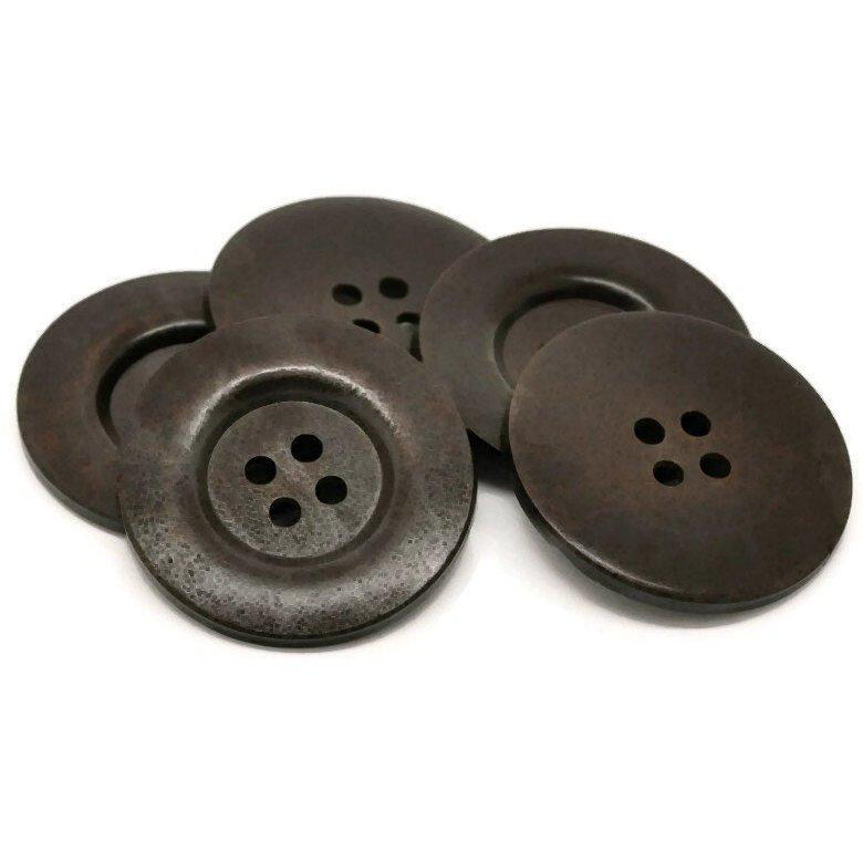 Extra large big button - 2 dark brown giant wooden buttons 60mm (2 3/8