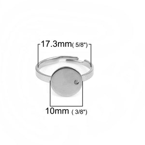 Stainless steel adjustable rings round 10mm settings - Hypoallergenic