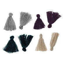 "Load image into Gallery viewer, 10 Boho Cotton Tassel 25mm (1"") long - Choose your colors - Purple, Gray, Champagne or Peacock"