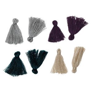 "10 Boho Cotton Tassel 25mm (1"") long - Choose your colors - Purple, Gray, Champagne or Peacock"