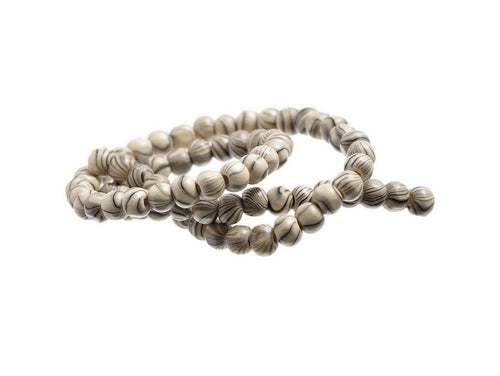 Stripped Beads Natural Wood 7mm round 75pcs
