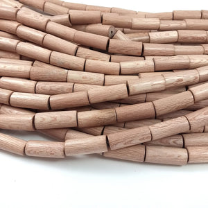 6 Rosewood beads 10 x 25mm - Natural Mala Wooden Beads - Tube