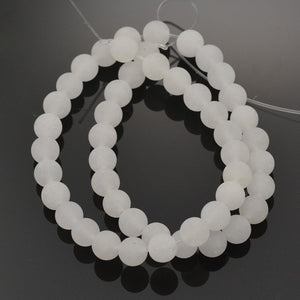 Natural White Jade Frosted Stone Beads Round 6 or 8mm