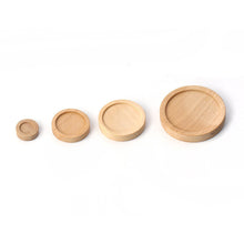 Load image into Gallery viewer, Wood cabochon frame settings, flat round, 8, 16, 20 or 29mm tray