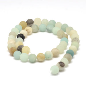 Frosted Natural Amazonite Round Beads Strands 4, 6, 8 or 10mm