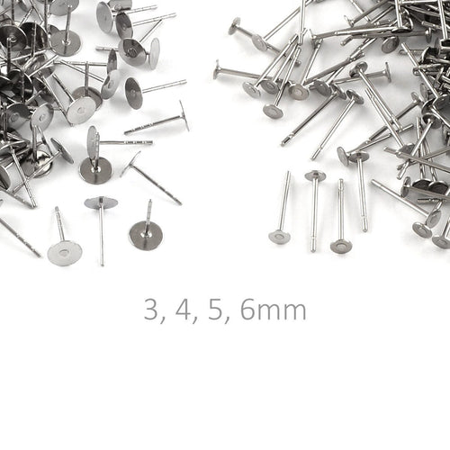 Stainless steel earring post hypoallergenic 3, 4, 5, or 6mm stud earrings