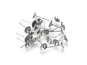 Stainless steel half round earring post hypoallergenic 4, 5, or 6mm cup stud earrings