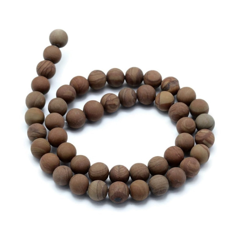 Frosted Natural Wood Lace Stone Beads Brown Round 6, 8 or 10mm
