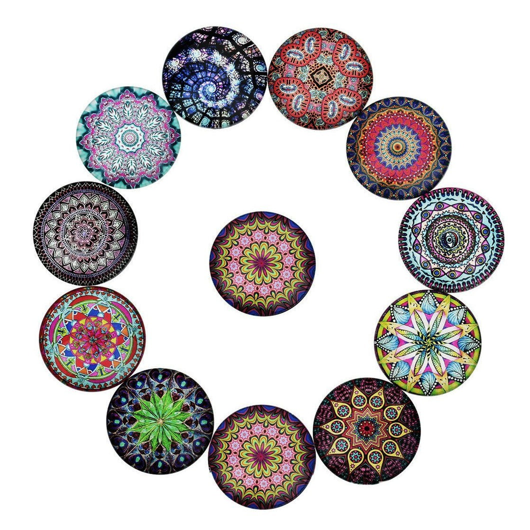 Mixed psychedelic glass cabochons - set of 20 round dome cabochons - 10, 12 or 14mm