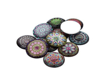 Load image into Gallery viewer, Mixed psychedelic glass cabochons - set of 20 round dome cabochons - 10 or 12mm