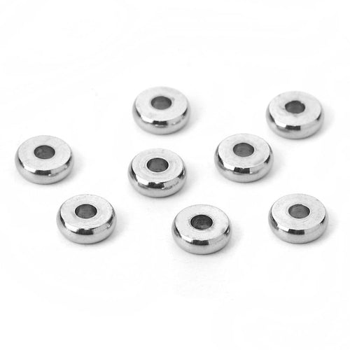 10 Stainless Steel Spacer Beads 4, 5, 6, 7 or 8mm