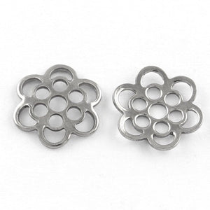 10 Flower bead caps hypoallergenic stainless steel 13mm beadcaps