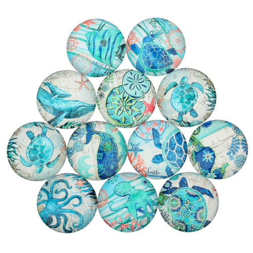 Mixed ocean wildlife glass cabochons - set of 20 round dome cabochons - 10, 12 or 14mm