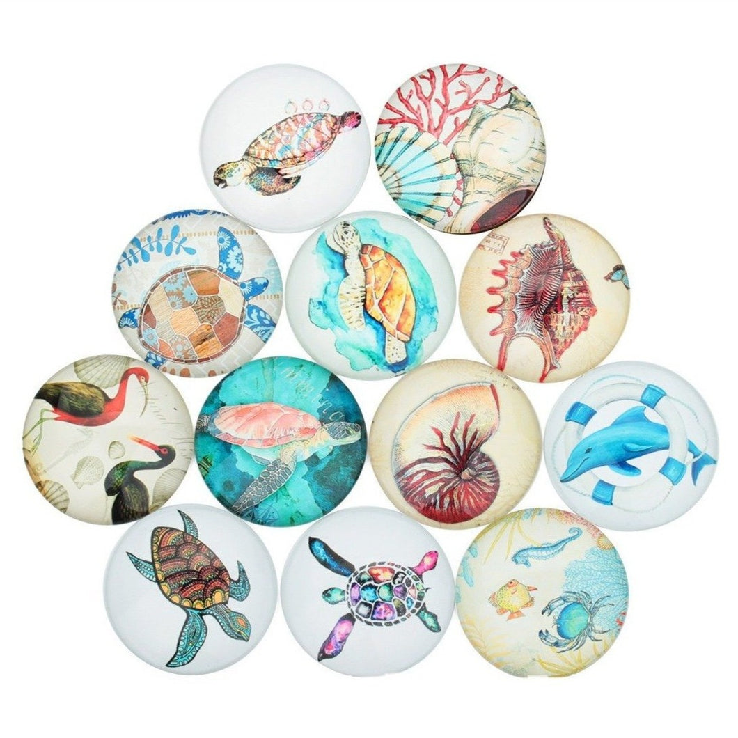 Mixed treasures of the sea glass cabochons - set of 20 round dome cabochons - 10, 12 or 14mm