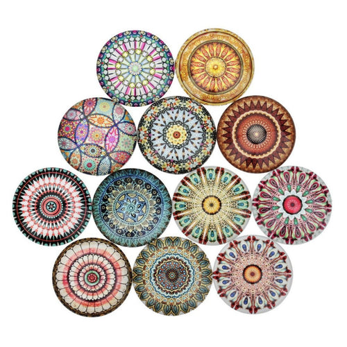 Mixed mandalas glass cabochons - set of 20 round dome cabochons - 10, 12 or 14mm