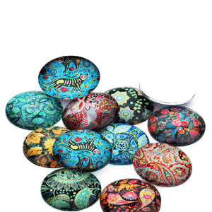 Mixed paisley glass cabochons - set of 20 round dome cabochons - 10, 12 or 14mm