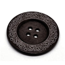 "Load image into Gallery viewer, Extra large button - 3 wooden button 60mm (2 3/8"") - vine pattern"