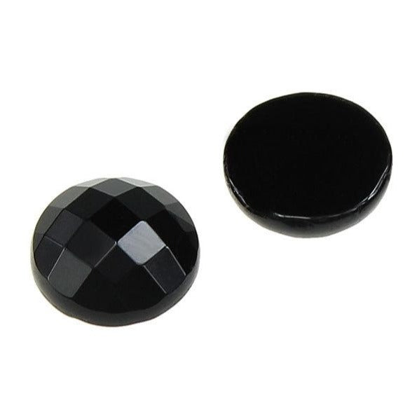 2pcs Flat Round Faceted Cabochons Natural Black Agate Gemstone 10mm