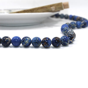 Natural Impression Jasper Blue Stone Beads Strands 4, 6 or 8mm Round