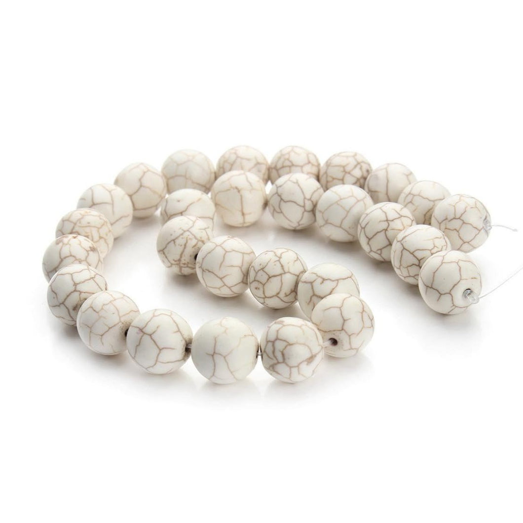 White Turquoise Stone Beads Strands 4, 6, 8 or 10mm Round