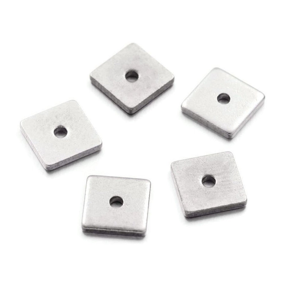10 Stainless Steel Square Spacer Beads 6 or 8mm