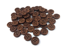 Load image into Gallery viewer, Wholesale Wooden button - Brown 4 Holes Wood Sewing Buttons 15mm - set of 60