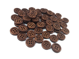 Wholesale Wooden button - Brown 4 Holes Wood Sewing Buttons 15mm - set of 60