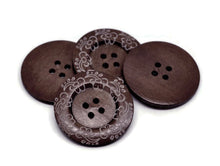 "Load image into Gallery viewer, Extra large button - 3 wooden button 60mm (2 3/8"") - wildflowers pattern"