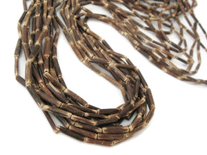 "Wood CocoNut Beads - Eco Friendly Tube Beads 15mm - 30"" strand"