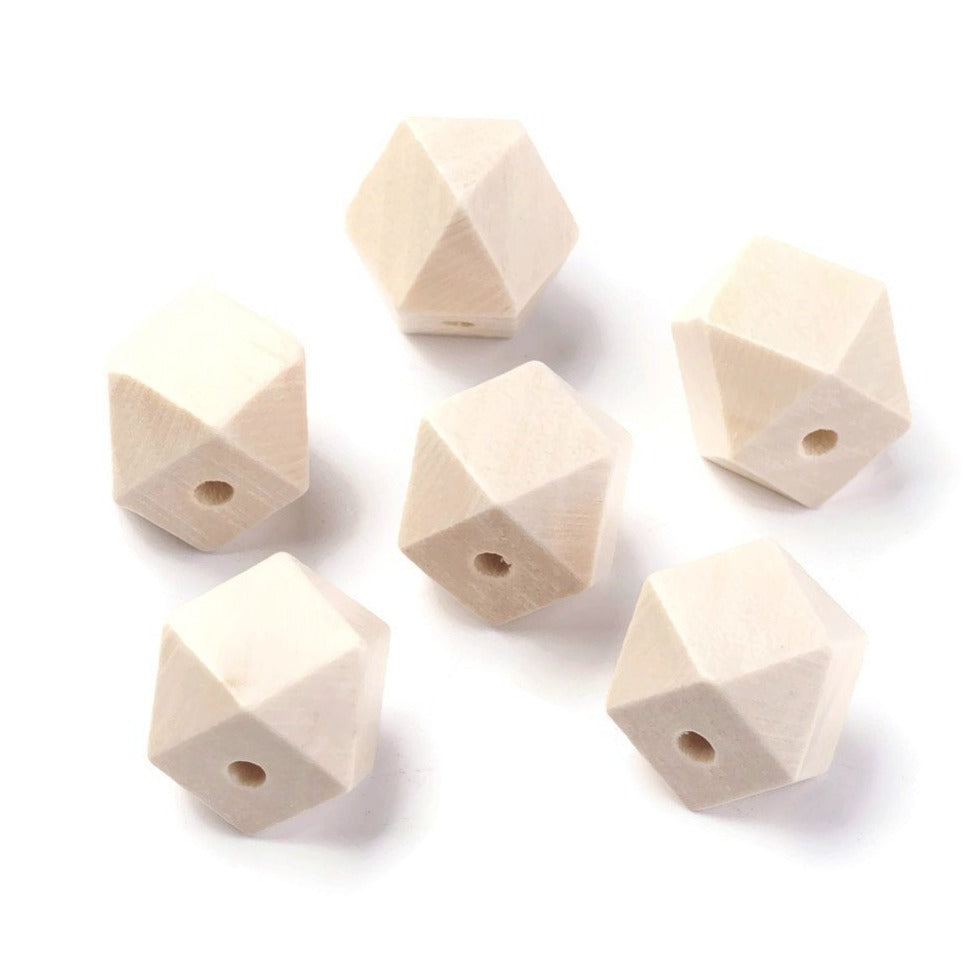 10 Faceted hexagon wood beads 15mm