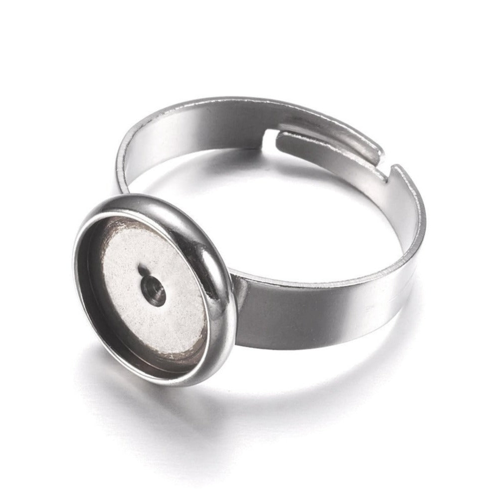 Stainless steel adjustable rings round cabochon settings (fits 10mm dia.) Hypoallergenic