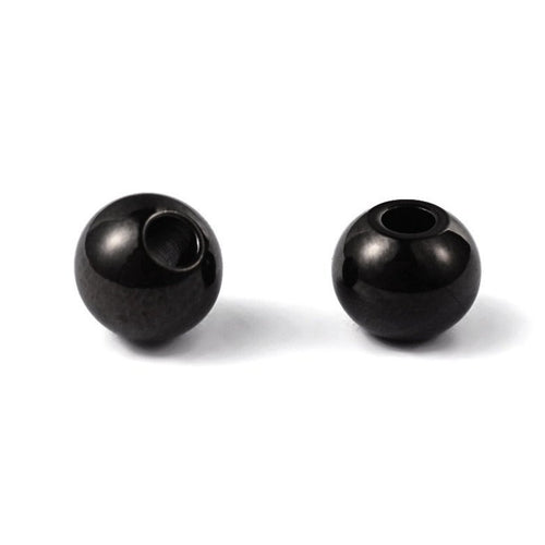 10 Black Stainless Steel Beads 6mm