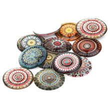 Load image into Gallery viewer, Mixed mandalas glass cabochons - set of 20 round dome cabochons - 10, 12 or 14mm