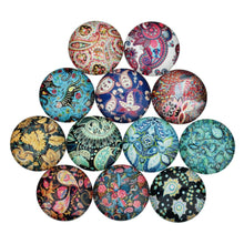 Load image into Gallery viewer, Mixed paisley glass cabochons - set of 20 round dome cabochons - 10, 12 or 14mm