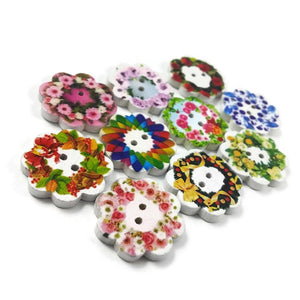 Flowers wood sewing buttons - 10 Mixed Patterns craft buttons 19mm