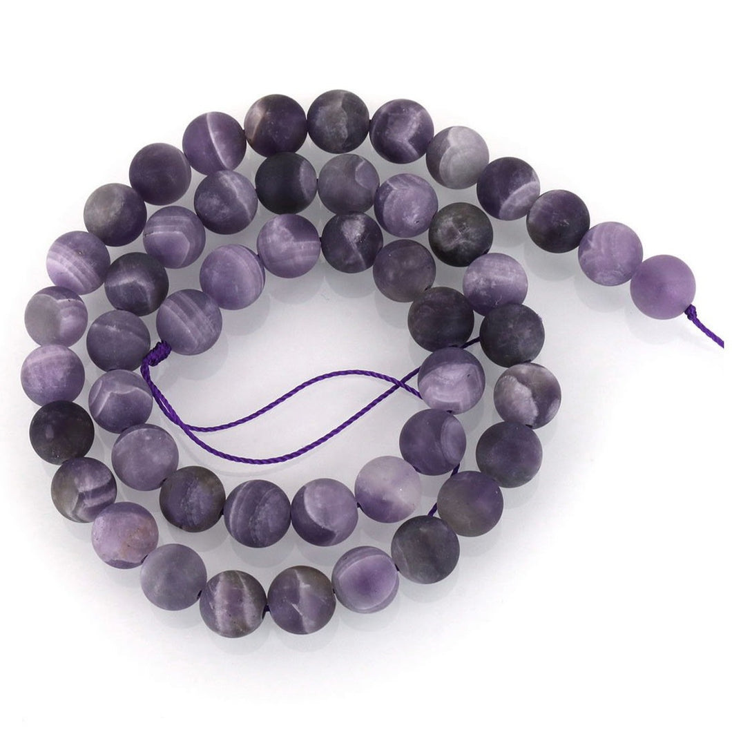 Natural Amethyst Frosted Stone Beads Round 6 or 8mm