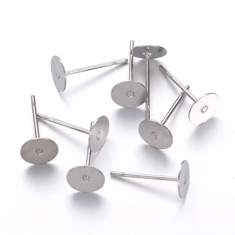 Earring stud posts, 6mm pad, silver. Nickel free, lead free and cadmium free