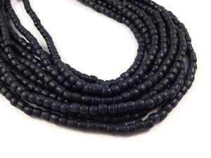100 Tube Wooden Beads 4x5mm - Charcoal