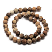 Load image into Gallery viewer, Natural Jasper Stone Frosted Beads Strands 8mm Round