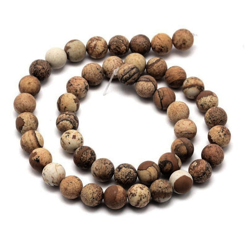 Natural Jasper Stone Frosted Beads Strands 8mm Round