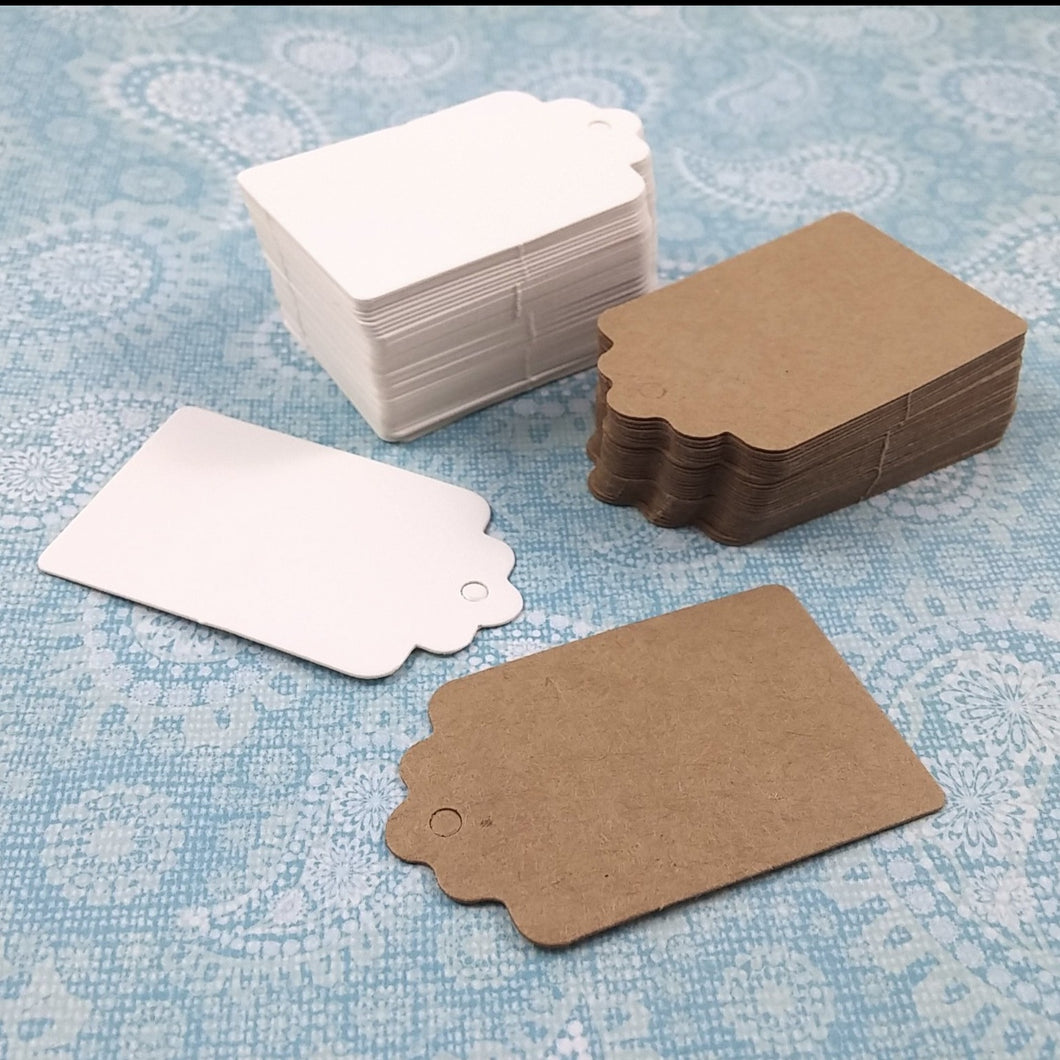 50 Rectangle gift tags - 2 inches blank paper tags