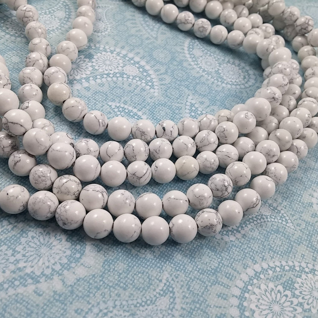 White Marbled Turquoise Stone Beads Strands 4, 6, 8 or 10mm Round