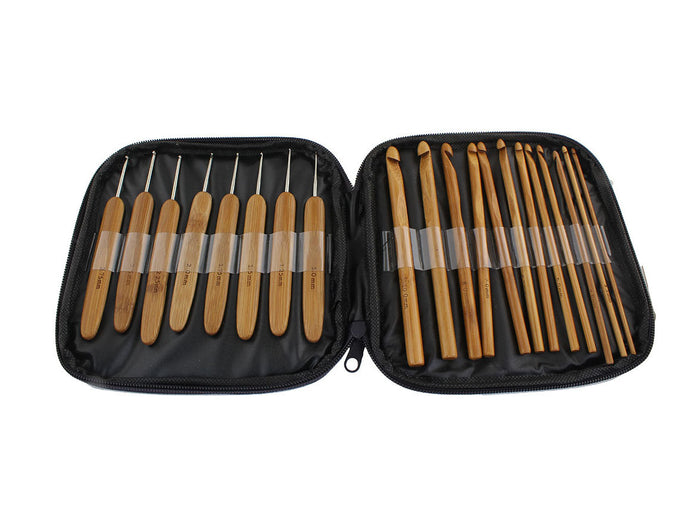 Crochet needles set of 20 bamboo crochet hooks with case