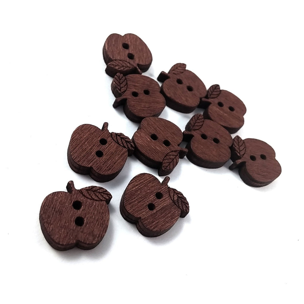 10 Apple Wooden Buttons - craft buttons 16mm
